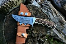HANDMADE DAMASCUS STEEL HUNTING KNIFE  DEER STAG HANDLE  WITH LEATHER SHEATH