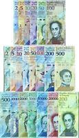 VENEZUELA SET 21 UNC 2 - 100000 BOLIVARES 2 - 500 SOBERANOS 2007-2018 P 88-108
