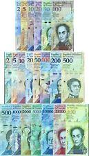VENEZUELA SET 21 UNC 2 - 100,000 BOLIVARES 2 - 500 SOBERANOS 2007-2018 P 88-108