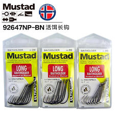 3 Pack Mustad Long Baitholder Hooks Size 2/0 - 92647NPBLN Chemically Sharpened