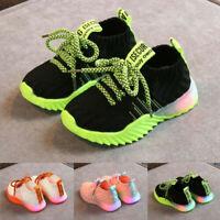 Toddler Child Kids Baby Girls Boys Mesh LED Light Luminous Sport Shoes Sneakers