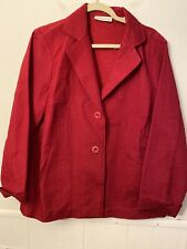 Coldwater Creek Womens Size 18 Red 2 Button Quilted Lightweight Jacket Silk Mix