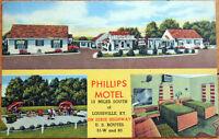 1940s Linen Postcard: Phillips Motel, Dixie Highway - Louisville, Kentucky KY