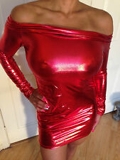 Sexy Bodycon Clubwear RED Metallic Long Sleeved OFF The Shoulder Dress S/M