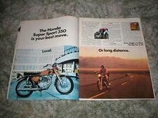 1972 HONDA SUPER SPORT 350 Ad  CB-350 K3 Original 2 pg AD Local or Long distance