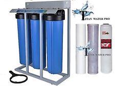 "Well Water Filter (3) Big Blue 20""x4.5"" 1""PR Sediment~KDF85/GAC~Carbon - Stand"