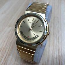 Vintage 1986 Caravelle By Bulova Men Gold Tone Analog Quartz Watch Hour~New Batt