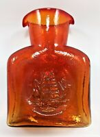 Vintage Dunbar Glass - Kanawha Glass Company Clipper Ship Amberina Decanter 1953
