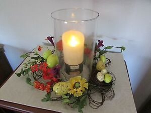 Spring Speckled Egg and Flower Centerpiece with Flicker Candle and Hurricane