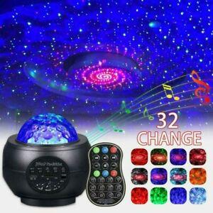 Romantic Galaxy Night Light Lamp Projector LED Ocean Wave Starry Star Lamp Music