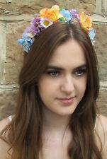 Blue White Lilac Rose Flower Hair Crown Headband Vintage Purple Daisy Boho X-18