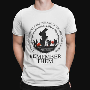 Lest We Forget Round T-Shirt- War Remembrance Day UK Retro Film TV Top Poppy