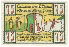 Notgeld - Bergstadt Altenau a. Harz - 75 Pfennig 1921 - Motiv 2