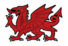 WELSH DRAGON STICKER WALES red black sticker Cymraeg dragon A4 240mm x 155mm