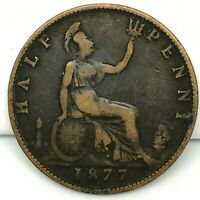 1877 GREAT BRITAIN VICTORIA 1/2 PENNY BRONZE COIN -  KM# 754.