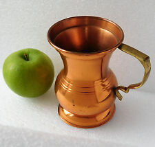 Old copper tankard mug with brass handle 4.5 inches tall vintage metal ware