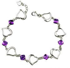 Sterling Silver Swarovski Element Crystal Amethyst Bangle Heart Bracelet Box B2
