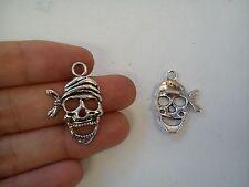 20 skull charms pendants tibetan silver antique jewellery making wholesale R62