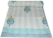 Indian Hand Block White Print Kantha Bedspread Quilt Throw Blanket Cotton Gudri