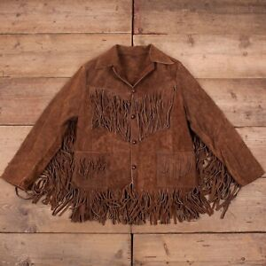 Women's Vintage 60s Brown Leather Suede Tassel Fringe Jacket Medium R19769