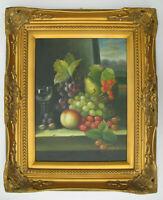 Gemälde Stillleben signiert mit Früchten Obst Stuckrahmen Prunkrahmen gold Öl