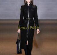 100% Wool Cashmere Womens Long Sleeve Leather Coats Dress Slim Waistband Jackets