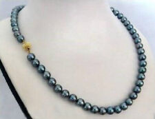 "Pretty Fashion 10mm South Sea Black Shell Pearl Round Beads Necklace 18"" AAA"