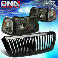 FOR 04-05 FORD RANGER SMOKED HEADLIGHT+AMBER CORNER LIGHT+GRILLE GUARD BEZEL