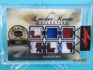 2020-21 LEAF PEARL NAVY BLUE LOCKER ROOM GAME USED 6-PATCH PATRICK ROY #2/4