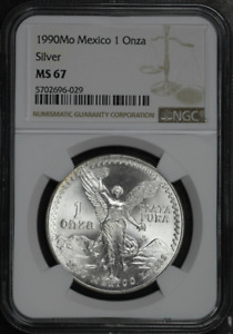 :1990Mo 1 ONCE MEXICO LIBERTAD WINGED-VICTORY KM# 494.2 NGC MS-67 HIGHEST-GRADES