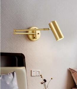 LED Wall Reading Lamp Golden Adjustable Angle Length Bedroom/Bathroom Wall Light