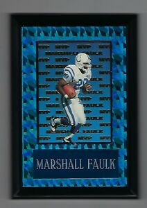 "Vintage 1994-1995 6.5"" x 4.5"" Card Plaque Marshall Faulk MVP Indianapolis Colts"