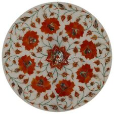 "15""x15""White Marble Red Flower Design Table Top Decorative Inlay Work Home Decor"