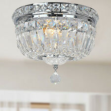 Elisa Indoor 2 Light Iron Chrome Finish and Clear Crystal Flushmount Chandelier