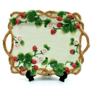 Fitz and Floyd Wild Berries Raspberry Serving Platter Spring Easter Woodland