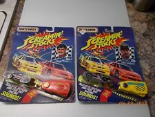 """2 Different Matchbox Screamin' Stocks Stock Cars with """"Sound Trailers"""""""