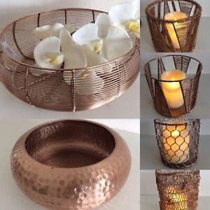 Schale Windlicht Luxus Obst Bowl XL Rose Gold Metall Kupfer Vase Korb gehämmert
