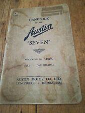 AUSTIN SEVEN HANDBOOK 1400F. MARCH 1938. ORIGINAL FACTORY PUBLICATION