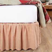 Ozark Red Ticking Stripe Queen Bed Skirt French Country Farmhouse Khaki Vhc