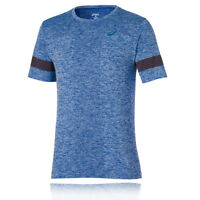 ASICS Mens Blue Seamless Short Sleeve Crew Neck Training T Shirt Tee Top