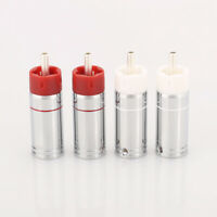 4pcs Audiocrast silver plated Bullet Plug Brass RCA connector HIFI