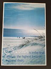 ORIGINAL 1960's JOHN F KENNEDY CONSERVATION POSTER  60s OCEAN BEACH SEA SEASCAPE