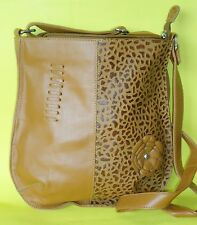 by KATZ LEATHER GENUINE TAN BROWN FLOWER LEATHER HAND PAINTED SHOULDER HANDBAG