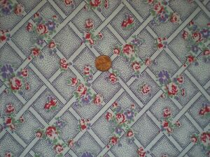 FLORAL Full Vtg FEEDSACK Quilt Sewing DollClothes Craft Fabric Purple Red Green