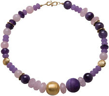 Kette Collier Amethyst Silber Gold Rosenquarz handgefertigt Necklace Handmade