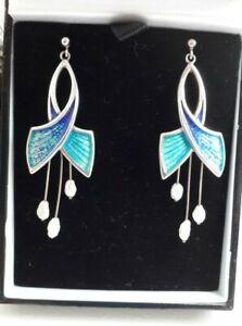 Scottish Sterling Silver, Enamel & Baroque Pearl Earrings by Norman Grant. DJ.