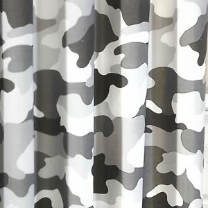 """GREY ARMY CAMOUFLAGE CAMO FULLY LINED CURTAINS WITH TIE BACKS BOYS 66"""" x 72"""""""