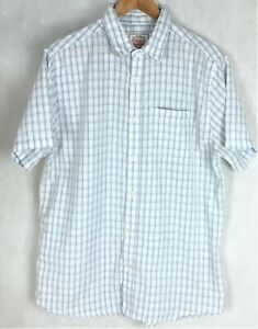 Mens Rivers Size M White With Blue & Grey Lines (Check) S/Sleeve Collar Pocket