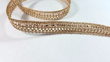 1.5cm- 2 metre Beautiful dark gold with sequins ribbon lace trimming edging