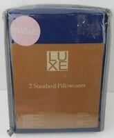 Luxe Pair Pillowcases Blue Microfiber Standard